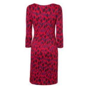 LK Bennett Sarah Long Sleeve Dress in Berry Size 6
